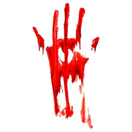 bloody hand print: Impresi�n de la mano sangrienta rojo sobre fondo blanco