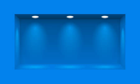 niche: Blue niche for presentations illuminated with three light lamps Illustration
