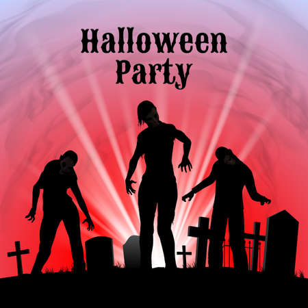 spooky graveyard: Spooky graveyard on the Halloween Night, Halloween Party poster in black, red and white with zombie