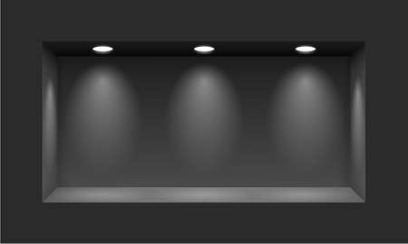 niche: Black niche for presentations with three light lamps