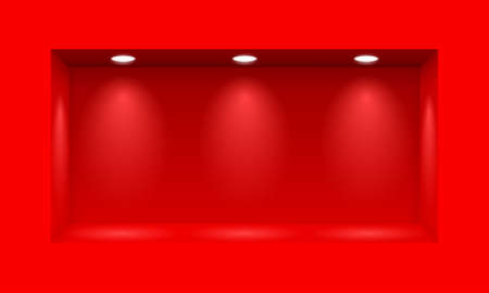 Red niche for presentations  with three light lamps Illustration