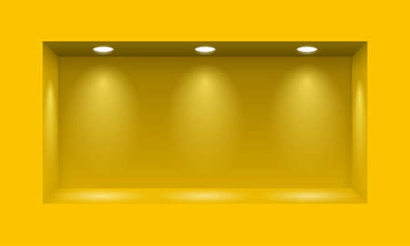 Yellow niche for presentations with three light lamps