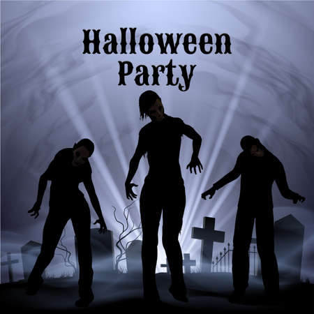 spooky graveyard: Spooky graveyard on the Halloween Night, Halloween Party poster in black and white with zombie