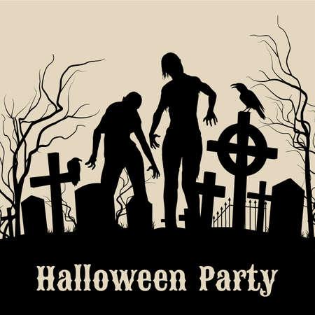 ハロウィーンの夜は、ゾンビとセピアのハロウィーン パーティーのためのレトロなポスターに不気味な墓地