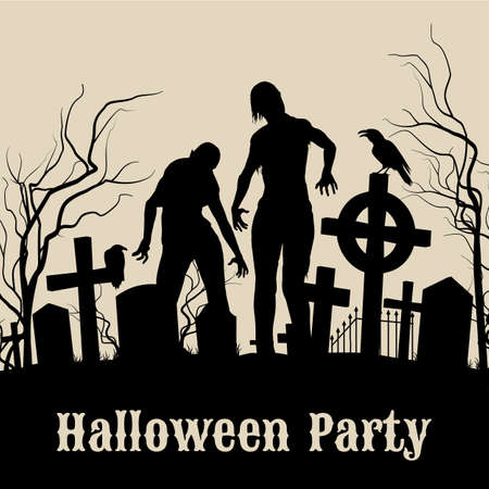 Spooky graveyard on the Halloween Night, retro poster for Halloween Party in sepia with zombie Ilustração