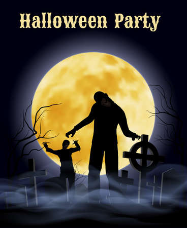 spooky graveyard: Spooky graveyard on the Halloween Night with zombie Illustration