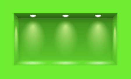niche: Green niche for presentations illuminated with three light lamps