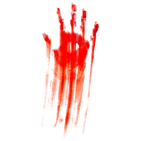 horror: Red bloody hand print on a white background