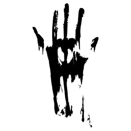 smeared hand: Black smeared handprint on a white background Illustration