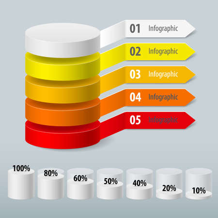 Infographics color cylinder with paper arrows. Schedule Business Report