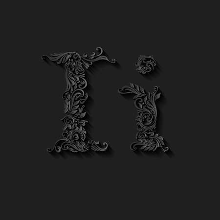 lower case: Handsomely decorated letter i in upper and lower case on black