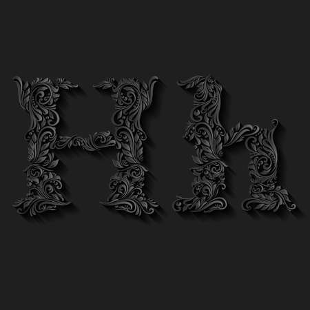 capitals: Handsomely decorated letter h in upper and lower case on black