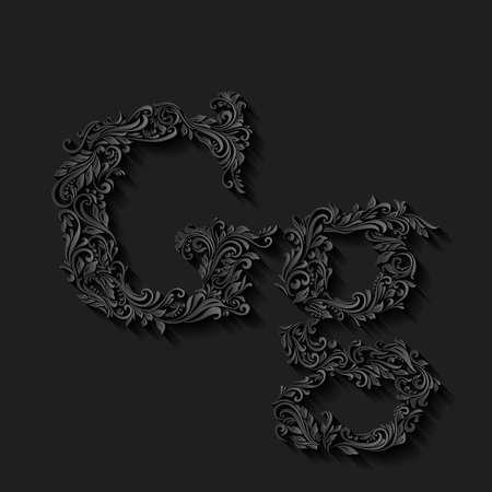 verschnörkelt: Hübsch dekoriert Buchstaben g in Groß- und Kleinbuchstaben auf schwarzem Illustration