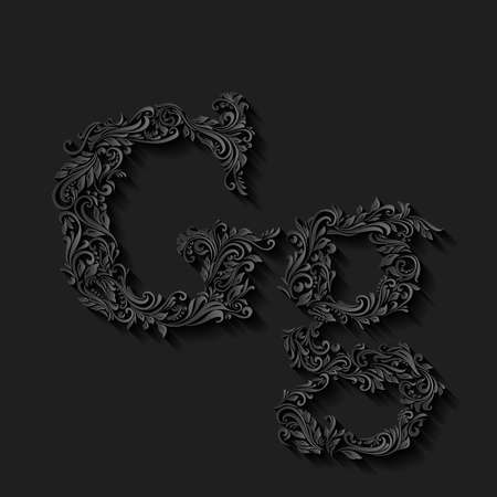 ornate: Handsomely decorated letter g in upper and lower case on black