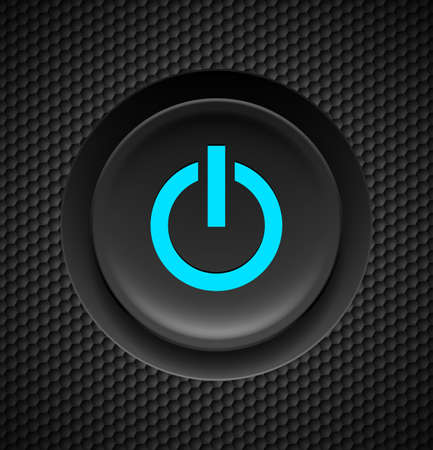 clicker: Black button with blue power sign on carbon background. Illustration