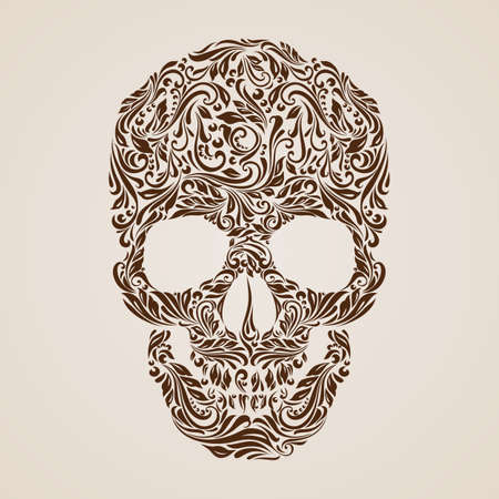 brown background: Floral pattern in the shape of a skull on a beige background. Day of the Dead