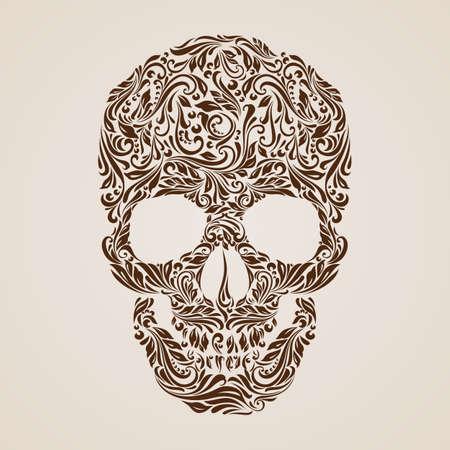 vid: Modelo floral en la forma de un cráneo en un fondo de color beige. Dia de los Muertos Vectores