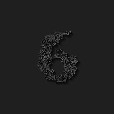 richly: Richly decorated six digit on black background