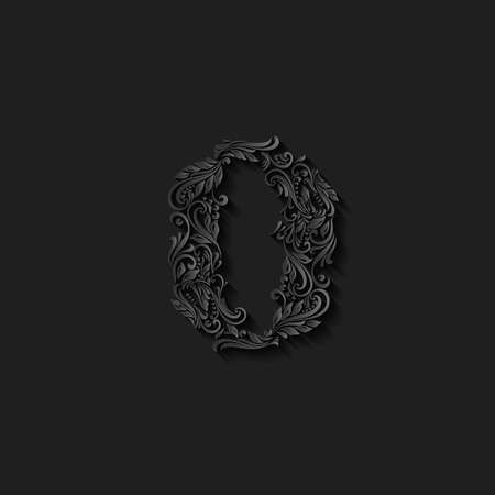 richly decorated: Richly decorated zero digit on black background Illustration