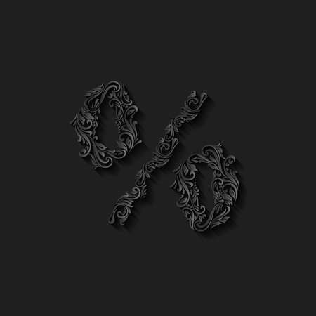 richly: Richly decorated black percent sign with twirls Illustration