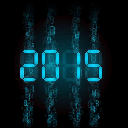 tableau: New Year 2015: blue digital numerals on black.