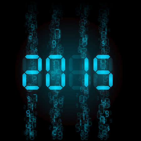 New Year 2015: blue digital numerals on black.