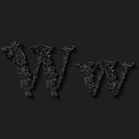 lower case: Handsomely decorated letter w in upper and lower case on black