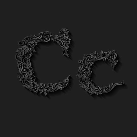 lower case: Handsomely decorated letter c in upper and lower case on black