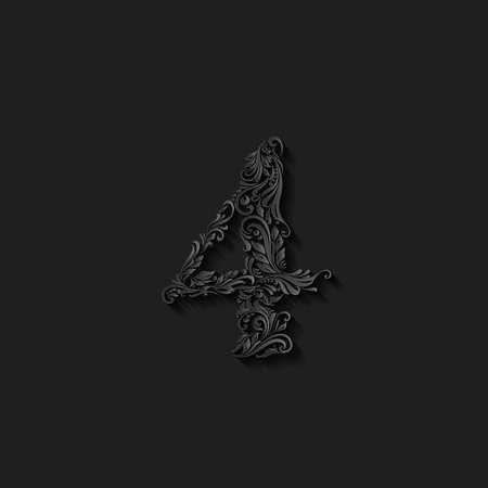richly: Richly decorated four digit on black background Illustration
