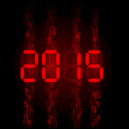 tableau: New Year 2015: red digital numerals on black.