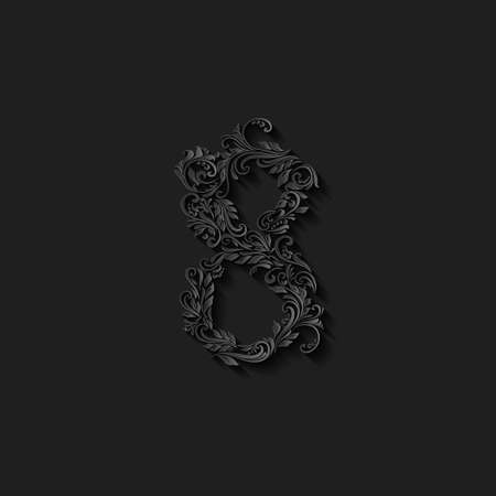 richly: Richly decorated eight digit on black background Illustration