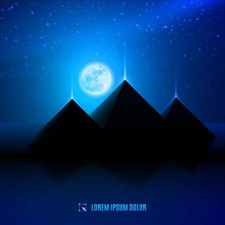 noche azul egipto paisaje desértico escenario ilustración de fondo con la luna, las pirámides y estrellas