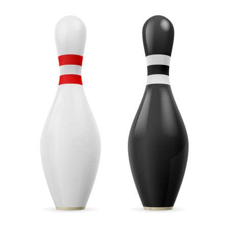 kegelen: Witte kegel met rode lijnen en zwart kegel met witte lijnen.