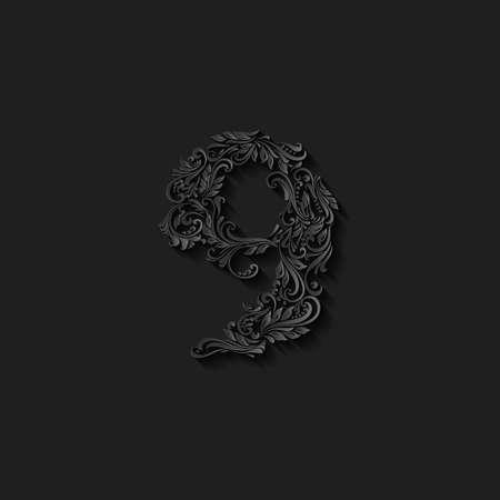 richly: Richly decorated nine digit on black background