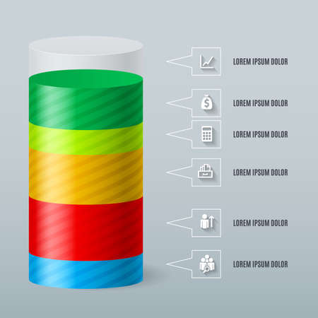 multilevel: Infographics as a split color cylinder. Schedule Business Report