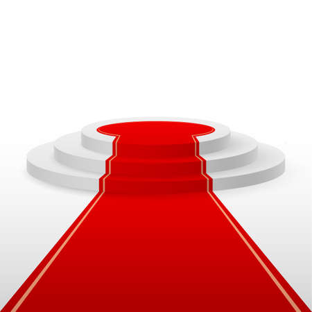 Round stepped white podium with red carpet Vectores