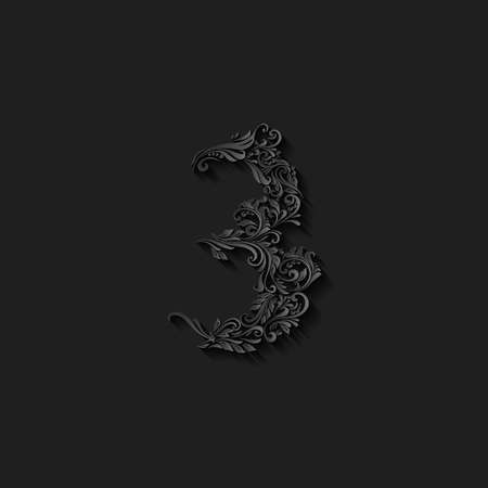 richly: Richly decorated three digit on black background