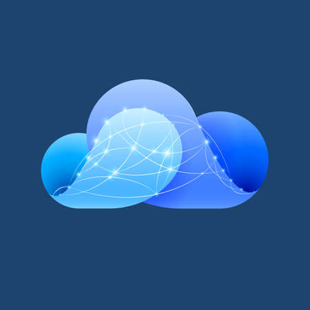 synchronizing: Abstract blue cloud made of curved elements with shiny network sign. Cloud computing
