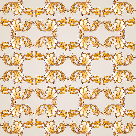 autumn motif: Seamless pattern with floral elements in gold shades on pastel rose pink background Illustration