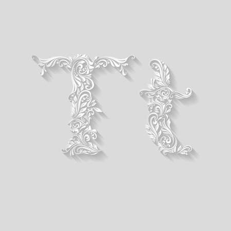 Handsomely decorated letter T in upper and lower case on gray Illustration