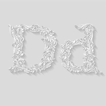 lower case: Handsomely decorated letter D in upper and lower case on gray Illustration
