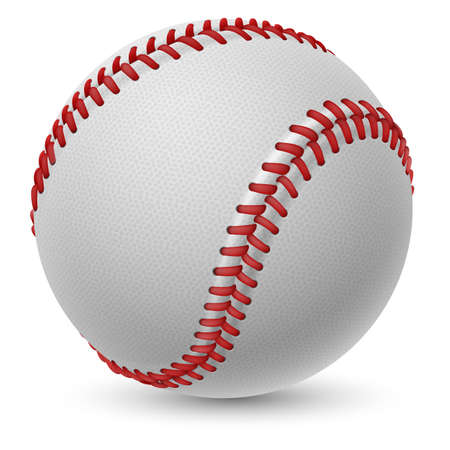 softball: Realistic baseball on white background for design