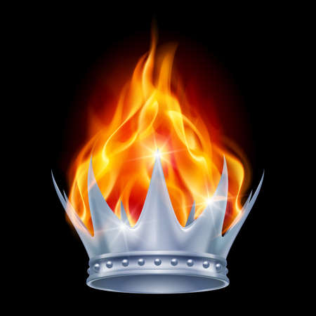 fiery: Burning silver crown isolated on black background Illustration