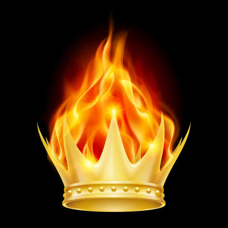 Burning golden crown isolated on black background
