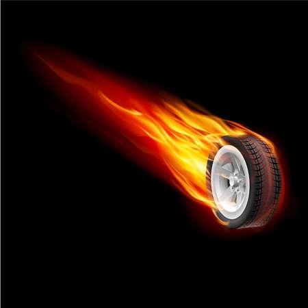 Brand wiel geïsoleerd op een zwarte achtergrond voor ontwerp