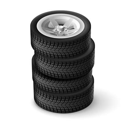 tire cover: Bunch car wheels isolated on a white background