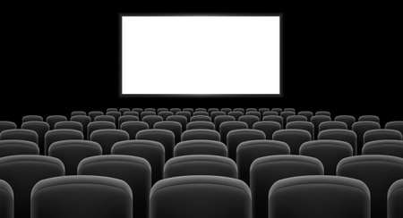 cinema screen: Cinema hall with white screen and gray  row chairs Illustration