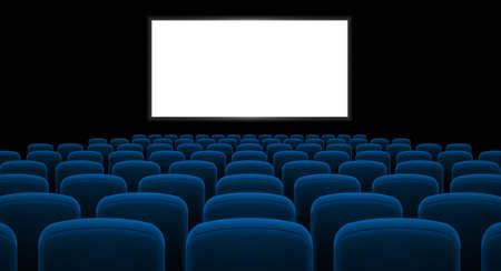 Cinema hal met wit scherm en blauwe rij stoelen Stock Illustratie