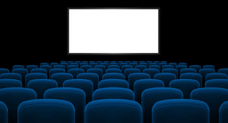 Cinema hall with white screen and blue row chairs Vectores