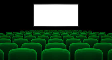 cinema screen: Cinema hall with white screen and green row chairs Illustration